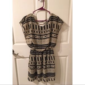 Patterned Cinch Waist Dress
